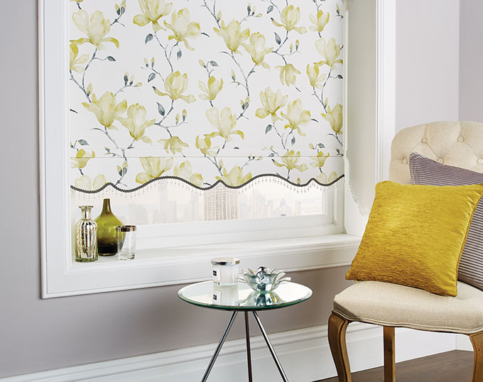 Magnolia Pipin Crystal Bead roller blinds