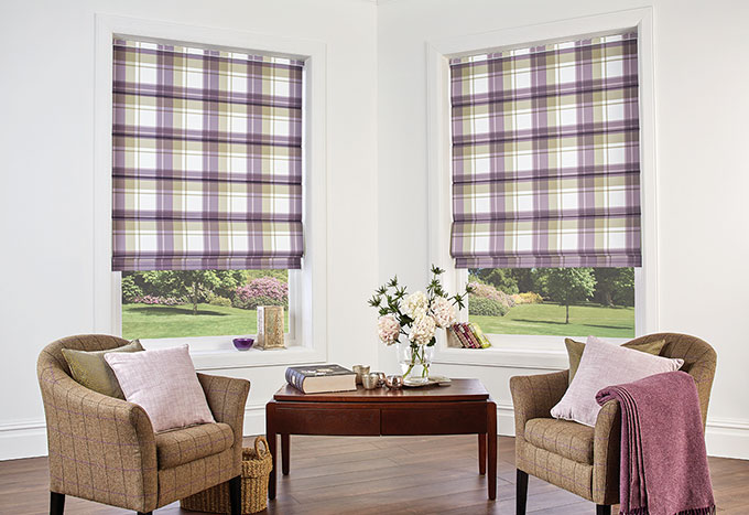 Highland Heather roman blinds