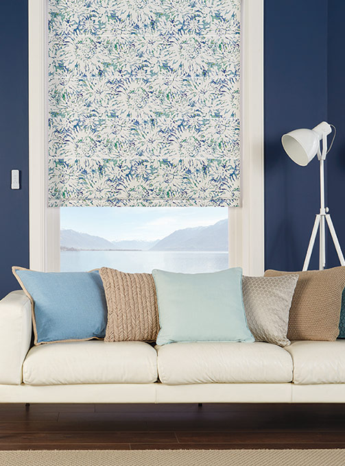Tropican Blue Lagoon roman blinds